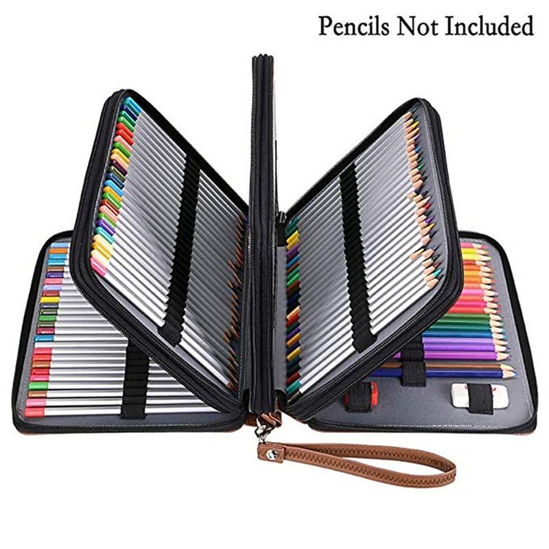 200 Slot Pencil Case PU Leather Pencil Bag Box Stationery Bag Art Painting Pen Storage Organizer Box Student Gift Art Supplies