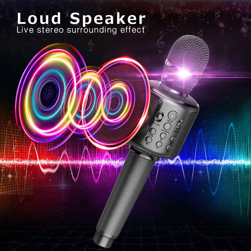 Bluetooth Karaoke Microphone, Wireless Microphone With Dual Sing, Portable Leather Rechargeable Handheld Mic enlarge