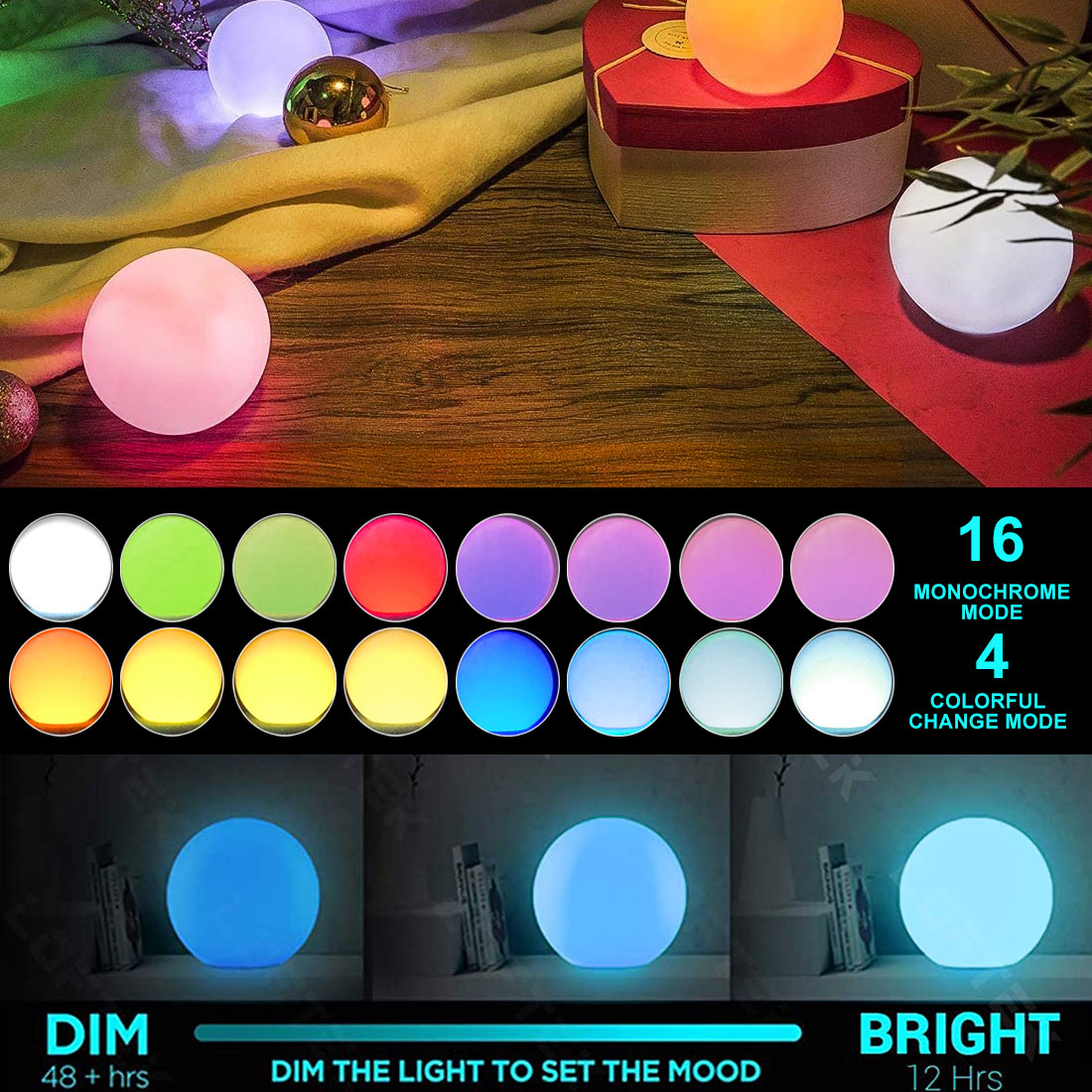 thrisdar 16 color ip68 globe ball garden landscape lawn pathway deck light remote control led swimming pool floating ball light Waterproof LED Garden Ball Light Outdoor Lawn Light Rechargeable Christmas Party Landscape Swimming Pool Floating Light