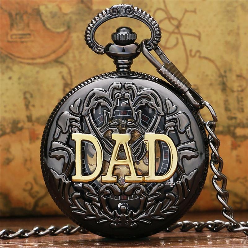 Steampunk Father DAD Design Watches Men's Handwinding Mechanical Half Hunter Pocket Watch Skeleton Clock Pendant Chain Gift