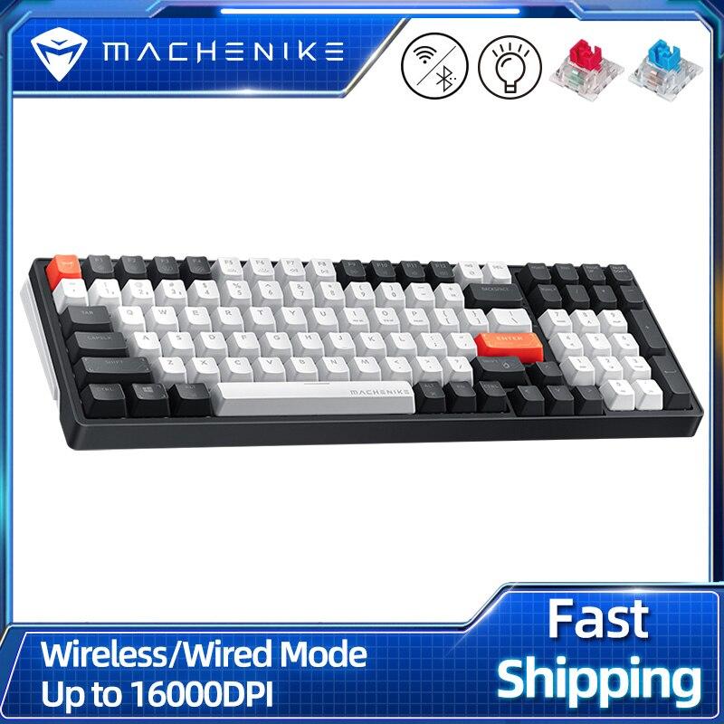 Get Machenike K600 Bluetooth Wireless Mechanical Keyboard Gaming 100 keys White Backlight Ergonomic Design For Mac Windows