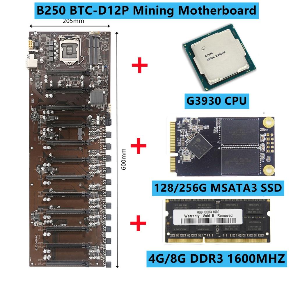 B250 BTC-D12P التعدين اللوحة DDR3 16 جيجابايت الذاكرة اللوحة مع G3930 CPU المزدوج SATA3.0 اللوحة الرئيسية LGA1151 وحدة المعالجة المركزية دعم 3060 وحدة معالجة الرس...
