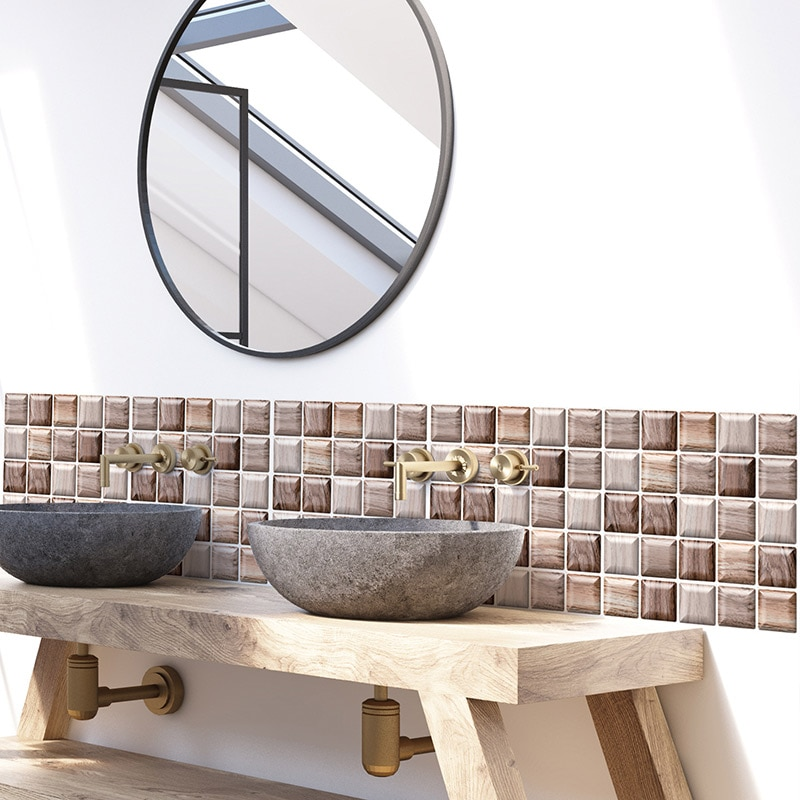 Xadrez casca e vara backsplash telha 3d adesivo de parede papel parede cozinha banheiro à prova dwaterproof água estiramento teto auto adesivo