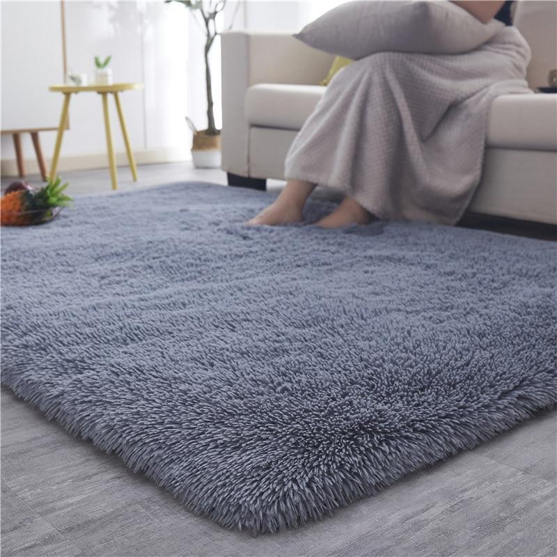 Silky Fluffy Carpet Modern Home Decor Long Plush Shaggy Rug Children's Play Mats Sofa Living Bedroom Bedside Mat Balcony Carpets