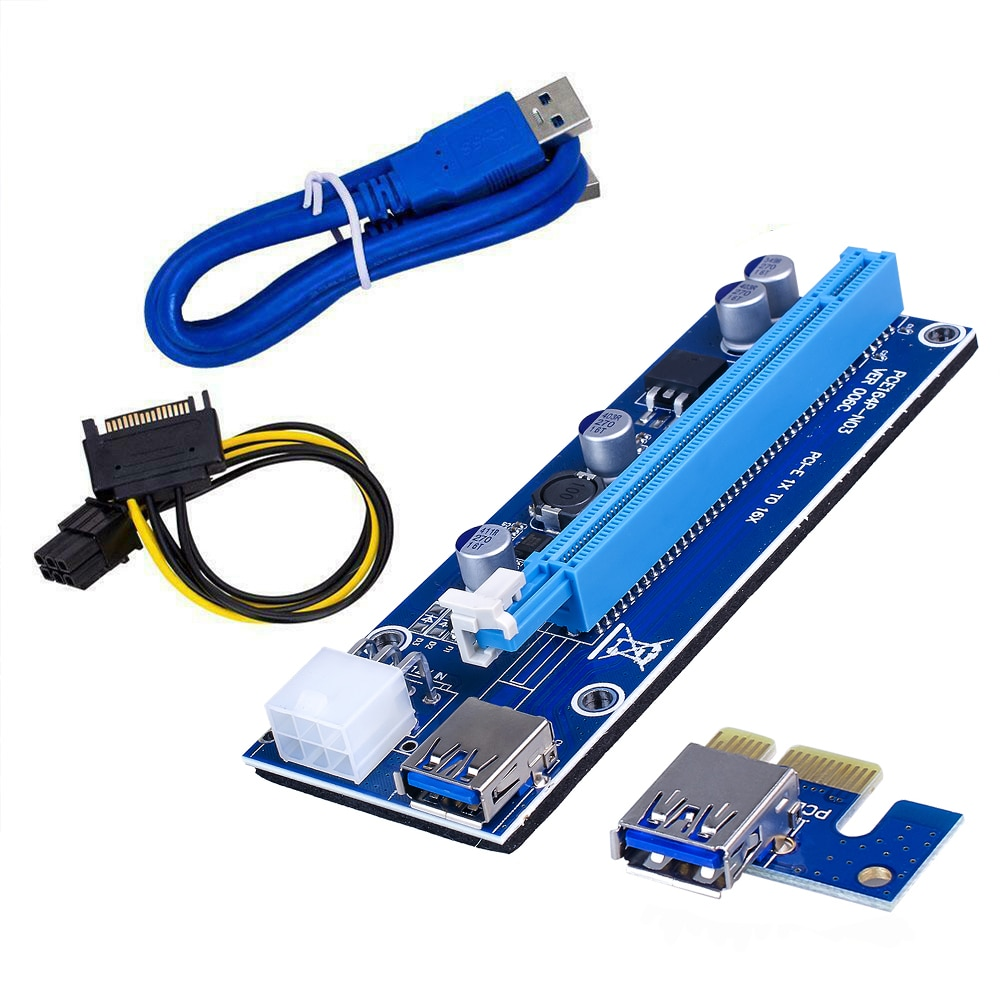 ul 1007 16awg pci e 6pin male to dual 6pin male power cable for mining For  Mining Miner VER006C PCI-E Riser Card PCI Express PCIE 1X to 16X Extender Adapter USB 3.0 Cable SATA 15Pin to 6Pin Power
