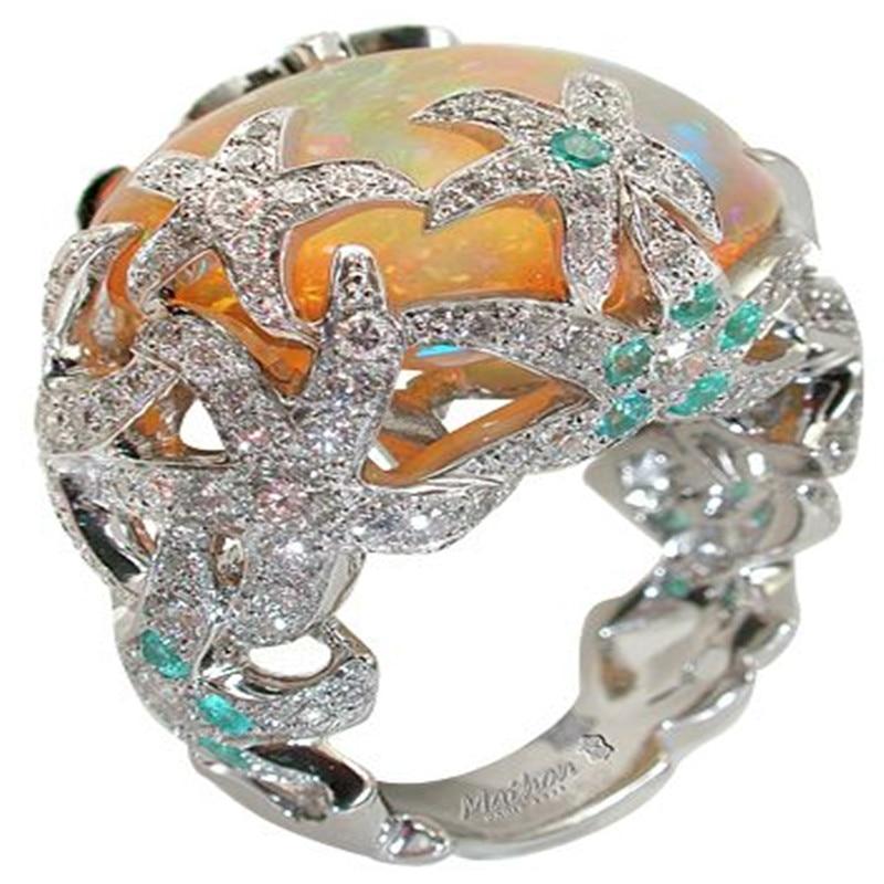 Laranja fogo opala anel azul strass estrela do mar cristal anéis para mulher casamento festa oceano luxo jóias anillos mujer o3x999