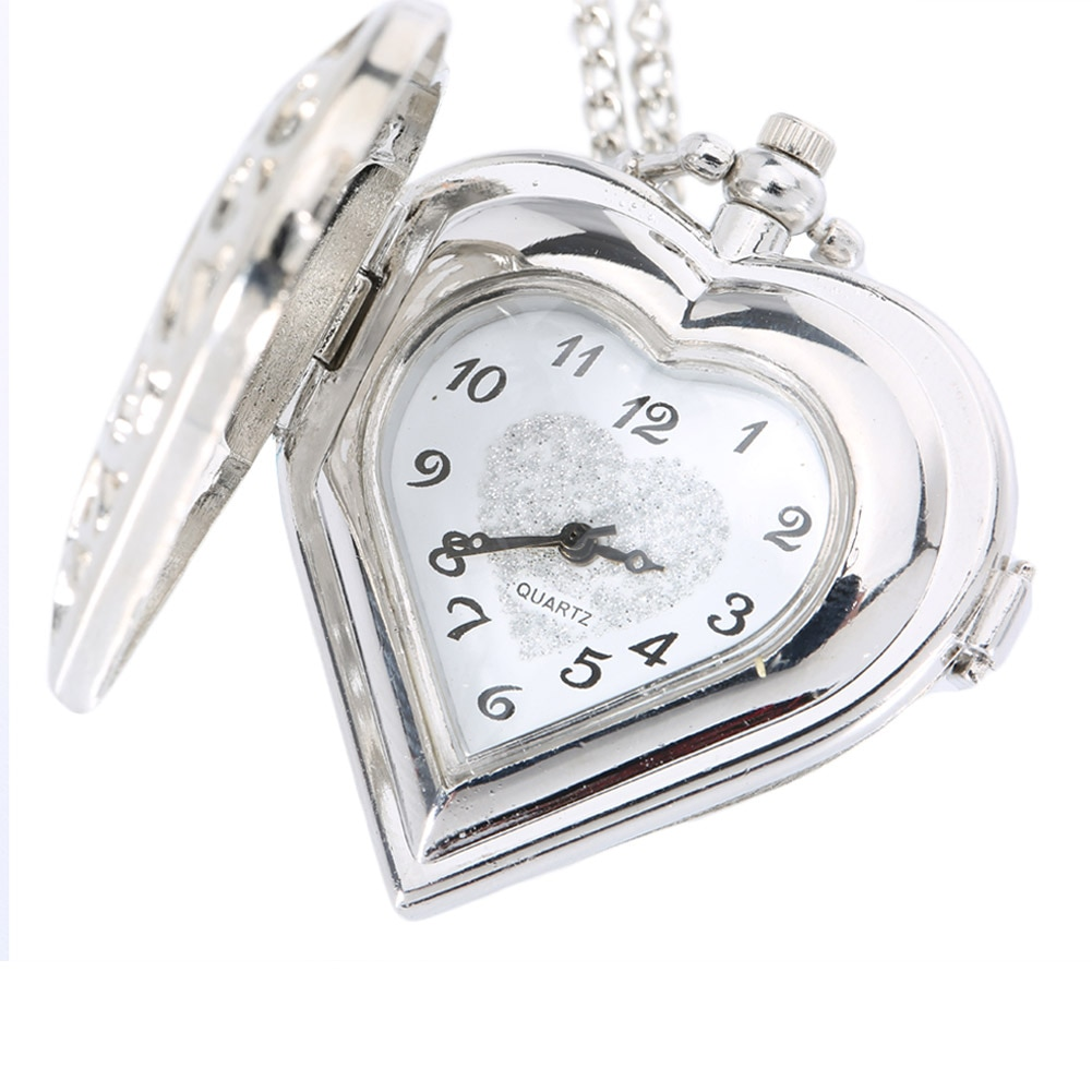 Reloj de bolsillo hueco de cuarzo en forma de corazón COLLAR COLGANTE cadena reloj mujeres regalo XIN-Shipping