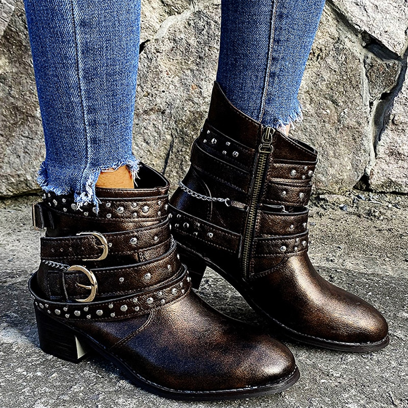 Зимние женские байкерские ботильоны, сапоги из PU искусственной кожи (ПУ), протрите Цвет на высоком каблуке резиновые сапоги на шнуровке; Круглый носок обувь на платформе черного цвета; Женская обувь; Botas Mujer