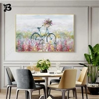 modern style beautiful canvas painting flowers and huaping bicycle landscape oil painting wall art living room home decoration