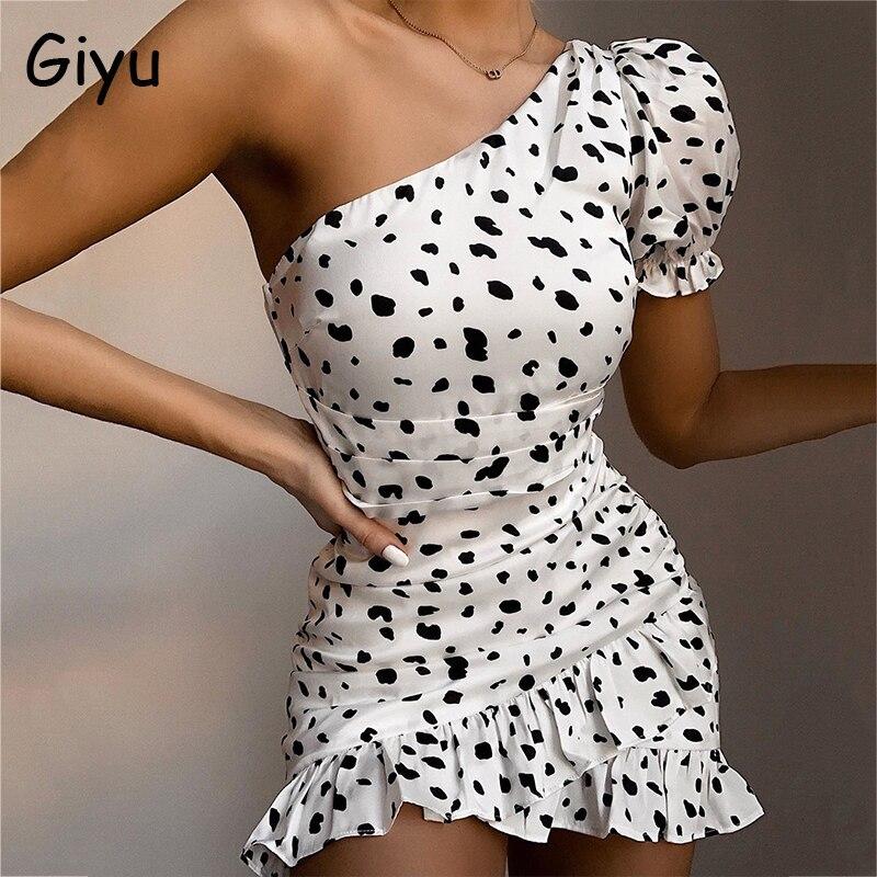 Giyu Sexy leopardo vestido estampado de lunares mujeres 2020 verano un hombro Puff manga volantes vestido ajustado elegante Mini Bata