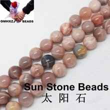OMHXZJ wholesale 6 8 10 MM free shipping natural peach moonstone round loose beads jewelry making ZZ16