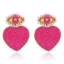 Zouchunfu Aretes Boho Pendientes for Women Devil's Eye Earrings Fashion Statement Big Earrings Long Design Earrings Kolczyki