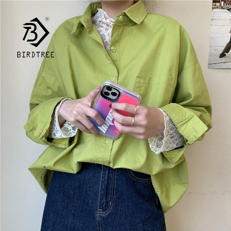 ¡Novedad de otoño! Blusa Vintage de manga de murciélago sólida para mujer, Blusa blanca de gran tamaño, Tops casuales de otoño para mujer, Blusa T06601F