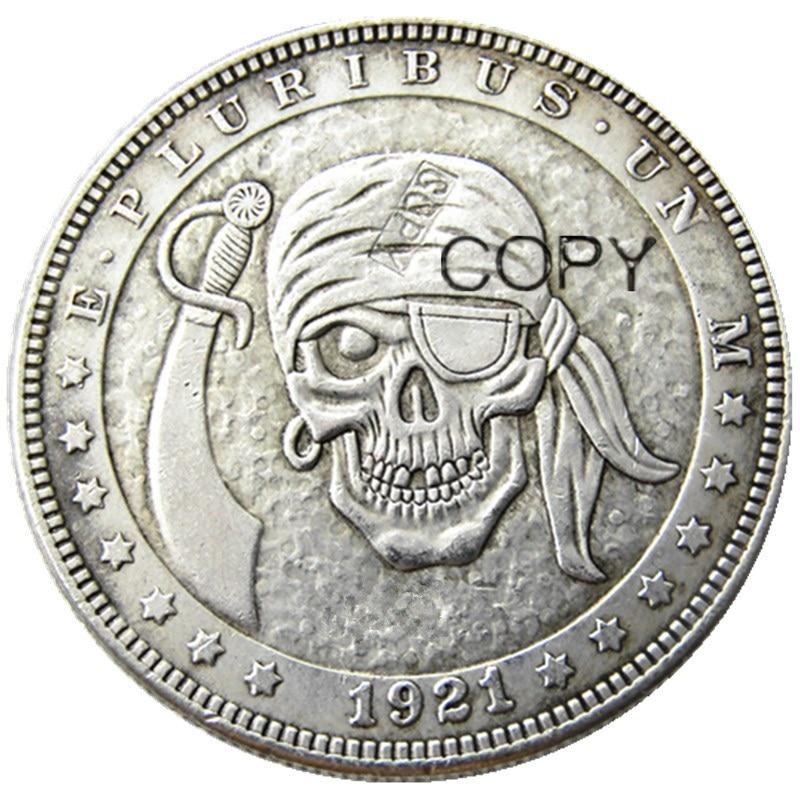 Hb (77) us hobo 1921 morgan dólar crânio zumbi esqueleto prata chapeado moedas de cópia