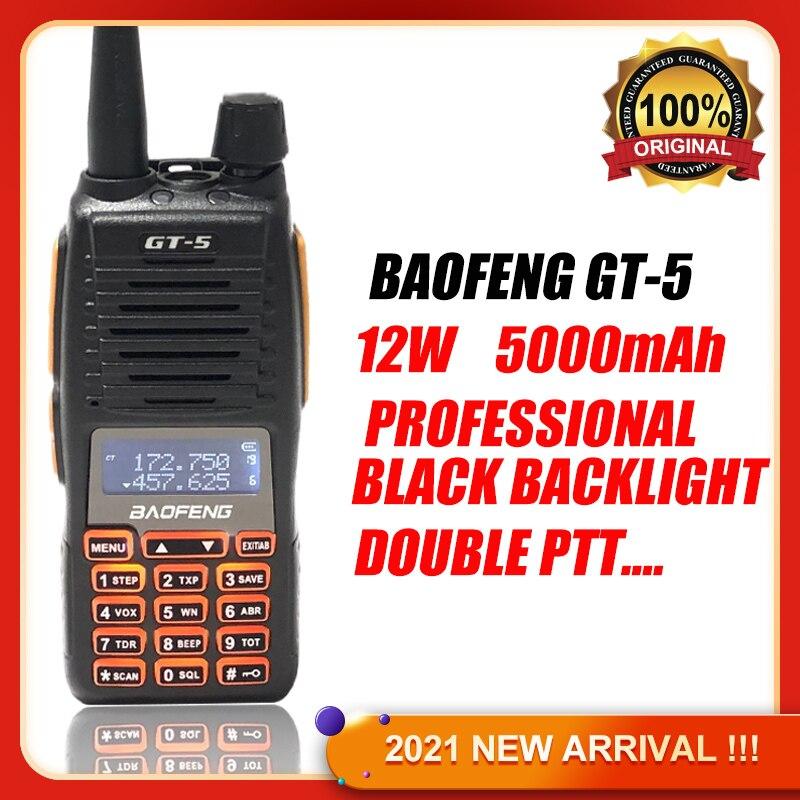 2021 BAOFENG لاسلكي تخاطب GT-5 اتجاهين راديو Comunicador 10 كجم عالية الطاقة المحمولة المزدوجة PTT الراديو BF UV 82 ترقية الإصدار