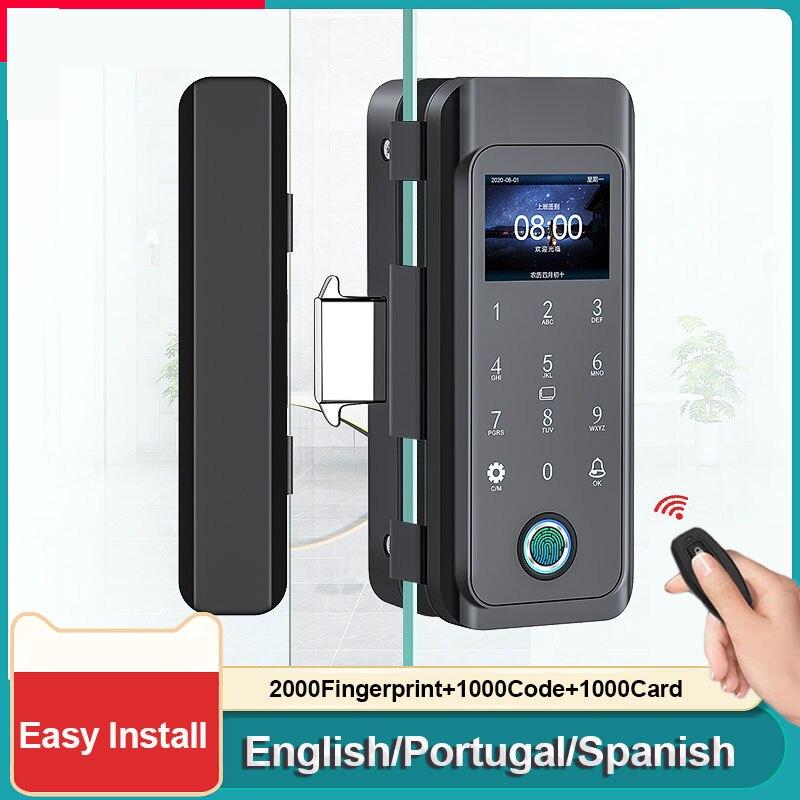 Get Multi Language Fingerprint Lock for Glass Door Remote Control Door Lock for Office Electronic Keyless Lock Smart Lock