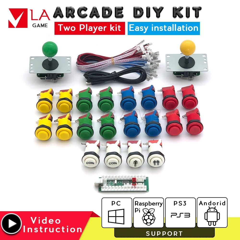 2 player kit arcade diy USB Encoder to PC Rasberry Pi 5 color happ type buttons 1p 2p coin 8 way sanwa joystick