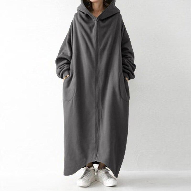 2021  Winter Fleece Outwear Autumn Hooded Long Coat Women Zipper Hoodies Long Sleeve Jackets Sweatshirt Robe Oversized