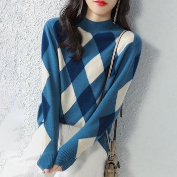 Women Sweaters And Pullovers New Autumn Winter Rhomboid Bottoming Shirt Loose Half Turtleneck Korean Style Japan Style Свитер