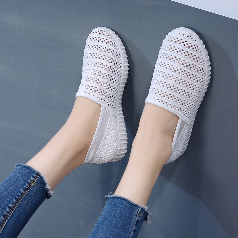 Verão 2019 das mulheres respirável malha sapatos casuais moda apartamentos sapatos rasa branco deslizamento em sapatos