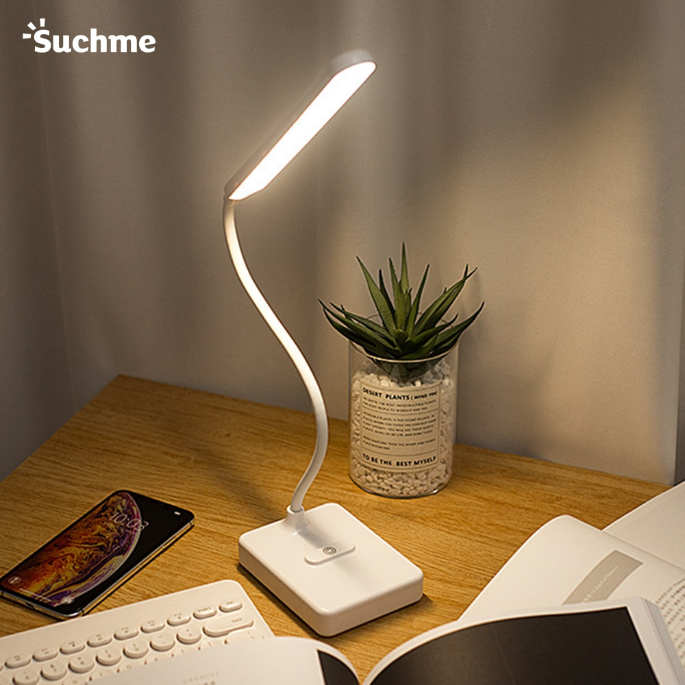 Suchme LED Desk Lamp USB Rechargeable Reading Table Lamp Brightness Adjustable Dimmable Eye-protect Study Table Top Lanterns