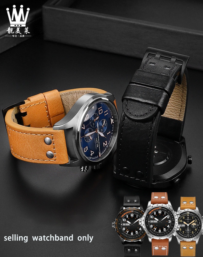Leather Wristband for H-amilton Khaki aviation field leather Cow Leather watchband accessories 20 mm