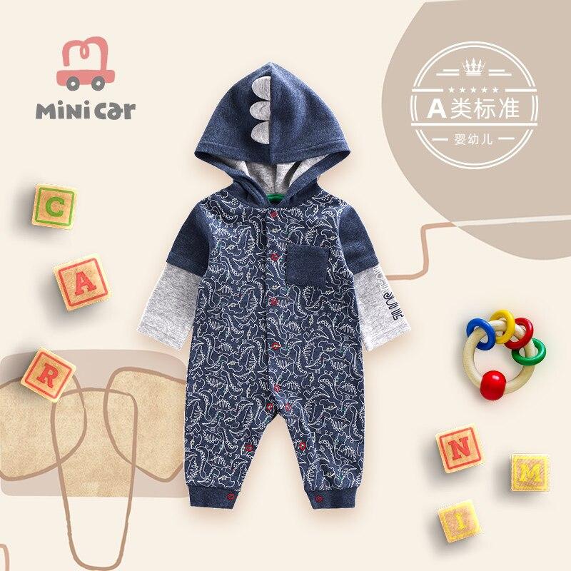 Детская одежда Mincar, детская одежда, детский комбинезон, мультяшный милый динозавр, цельная одежда на весну и осень, одежда для скалолазания