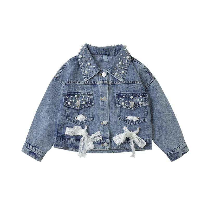 Otoño bebé niña abrigo perla encaje diseño chaqueta de mezclilla exterior manga larga OuterwearNew