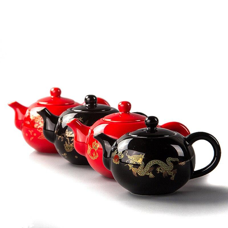 Черный керамический чайник 200 мл, китайский чайник с драконом, чайник для чая ручной работы, легкий чайник для чая, керамический чайный сервиз, чайная посуда кунг-фу