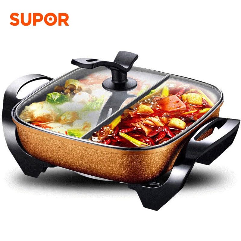Olla caliente eléctrica, olla para el hogar multifuncional eléctrico, 2 ollas independientes, 5L, olla antiadherente, máquina para sopa, aparatos de cocina