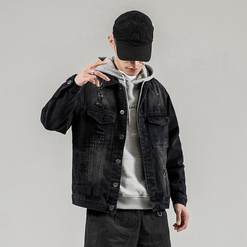 Cotton black large size men's denim jacket Harajuku fitness spring top 2020 high quality streetwear clothes men