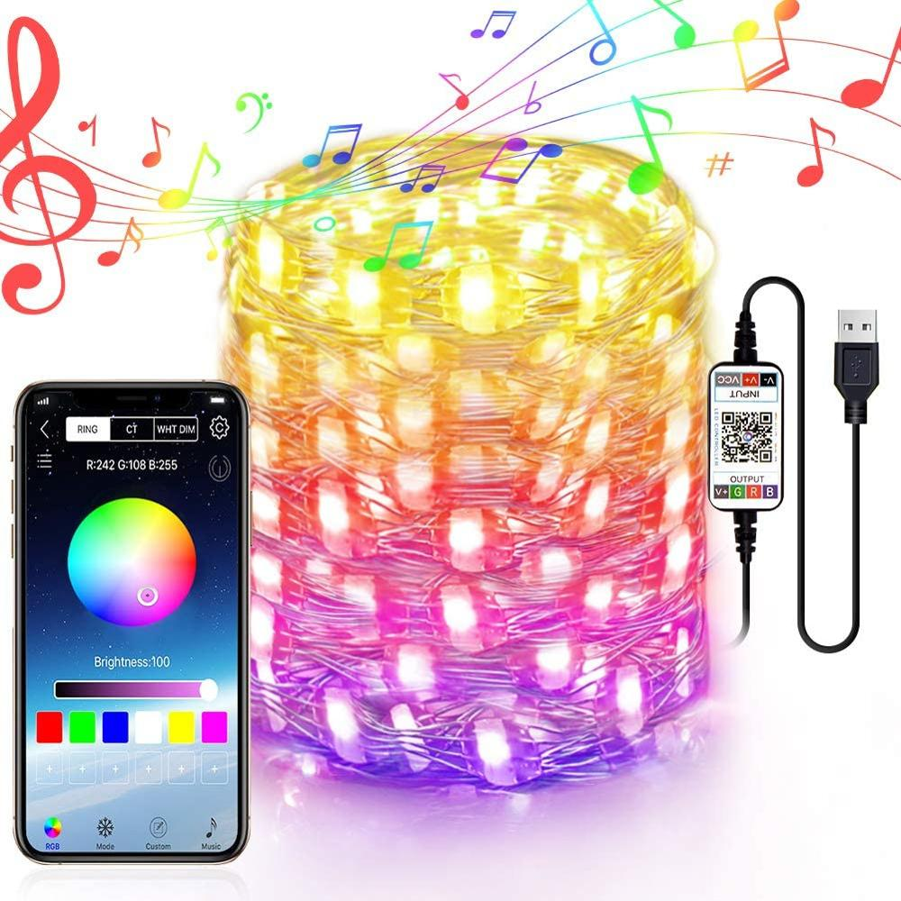 USB LED String Light Bluetooth App Control Copper Wire String Lamp Waterproof  for Christmas Tree Decoration Indoor and Outdoor