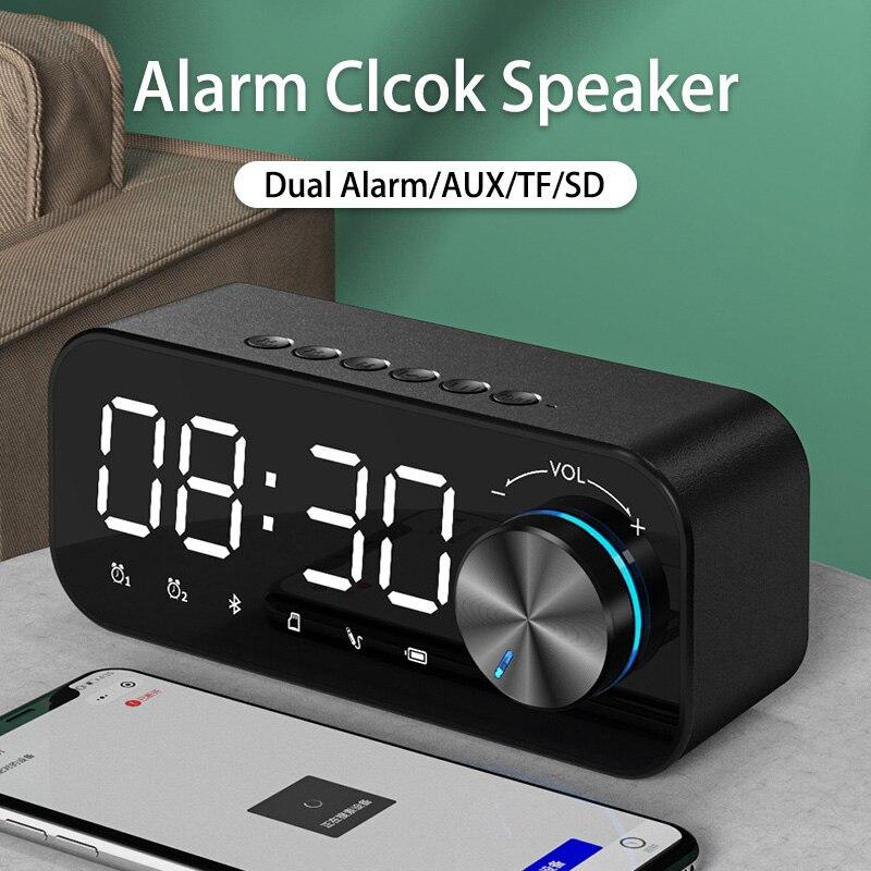 Despertador portátil LED con Bluetooth, Altavoz, Altavoz, Subwoofer, AUX, USB