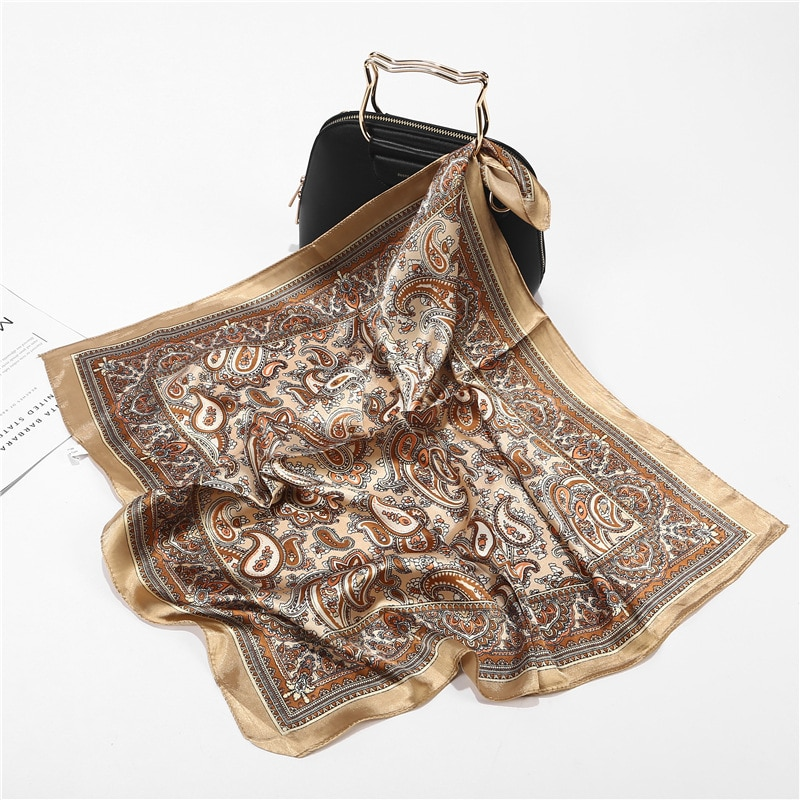 Scarf Silk Satin Bandana Women Summer Square Small Bag Wrap Bohemian Retro Paisley Ladies Scarves In