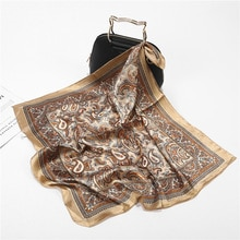 Scarf Silk Satin Bandana Women Summer Square Small Bag Wrap Bohemian Retro Paisley Ladies Scarves In