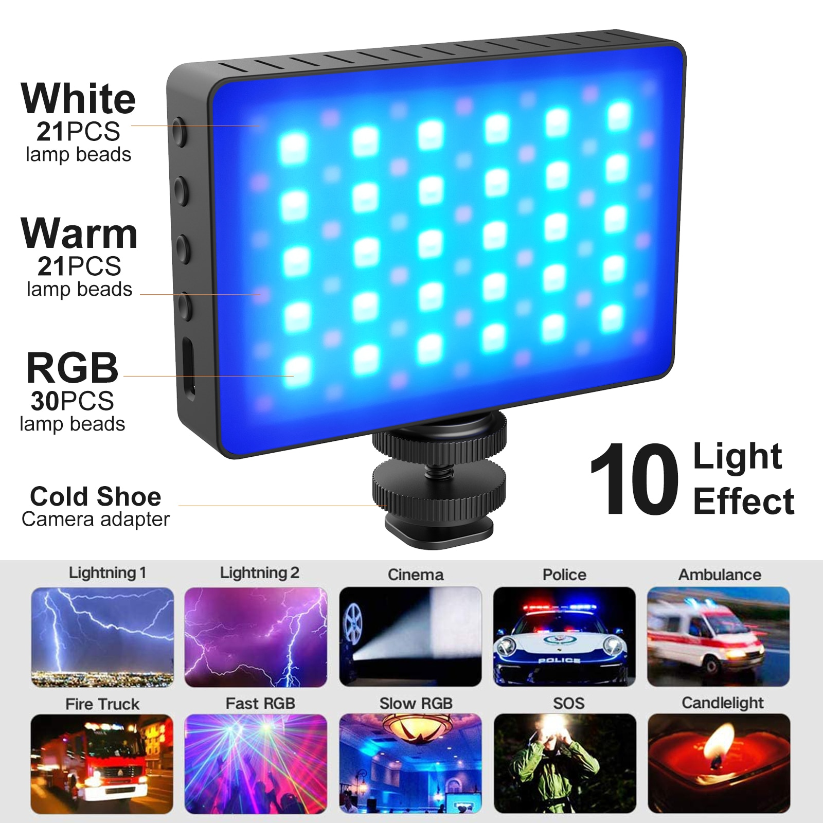 72 Lamp Beads Mini 30W RGB LED Video Light With 3000mAh Rechargeable Battery For Photography Lighting 10 Light Effect Mode
