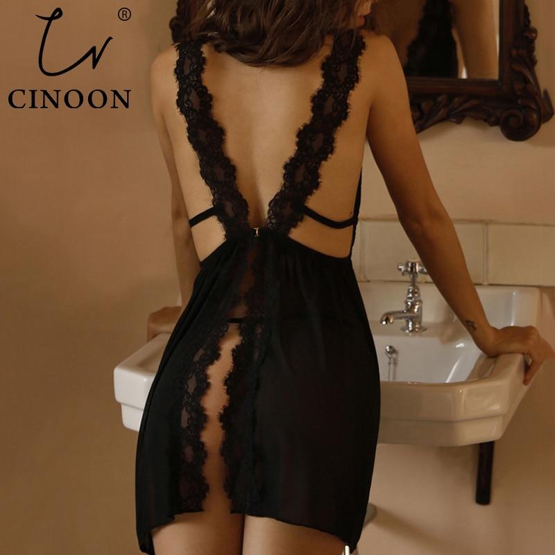 CINOON Summer Womens Sleepwear V-Neck Sexy Nightdress Casual Nightgown Comfortable Lace Pajama Solid Color Bifurcation Nightwear