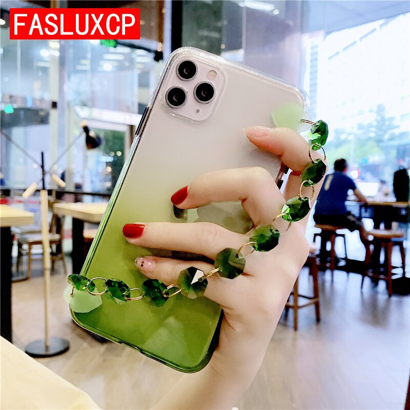 Lujosa funda blanda con gradiente de cristal Real para iPhone 11 XS Max XR 8 Plus 7 6 6S SE 2020 11 Pro Max, elegante funda trasera