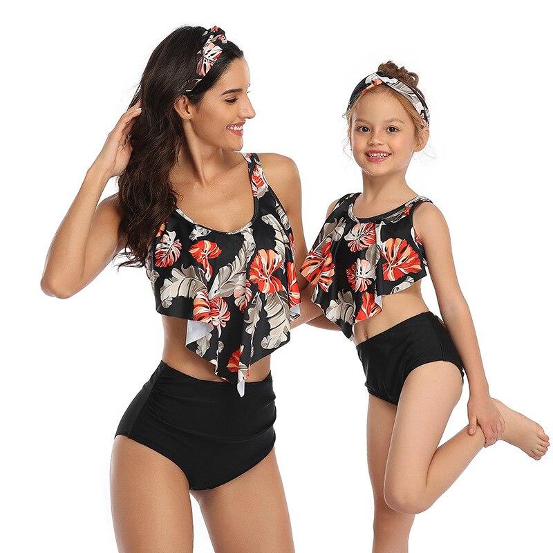 2021 Matching Swimwear Family Outfits Swimsuit Little Girl Bikini Printed High Waist Baby Girls Mom Bikini with Ruffles Clothes