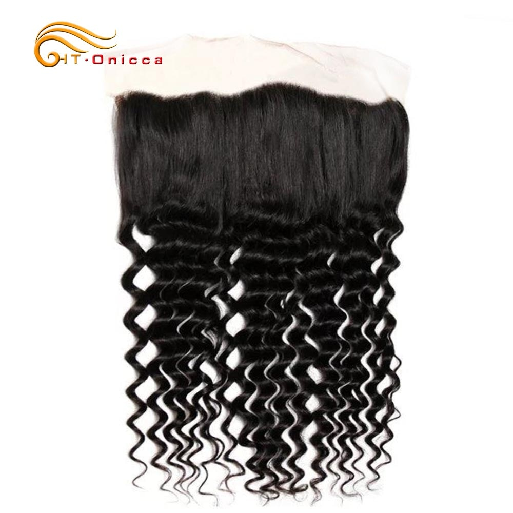 13x2 Lace Frontal For Black Women Human Hair Brazilian Hair Deep Wave Frontal With Transparent Pre Plucked Lace Frontal Closure