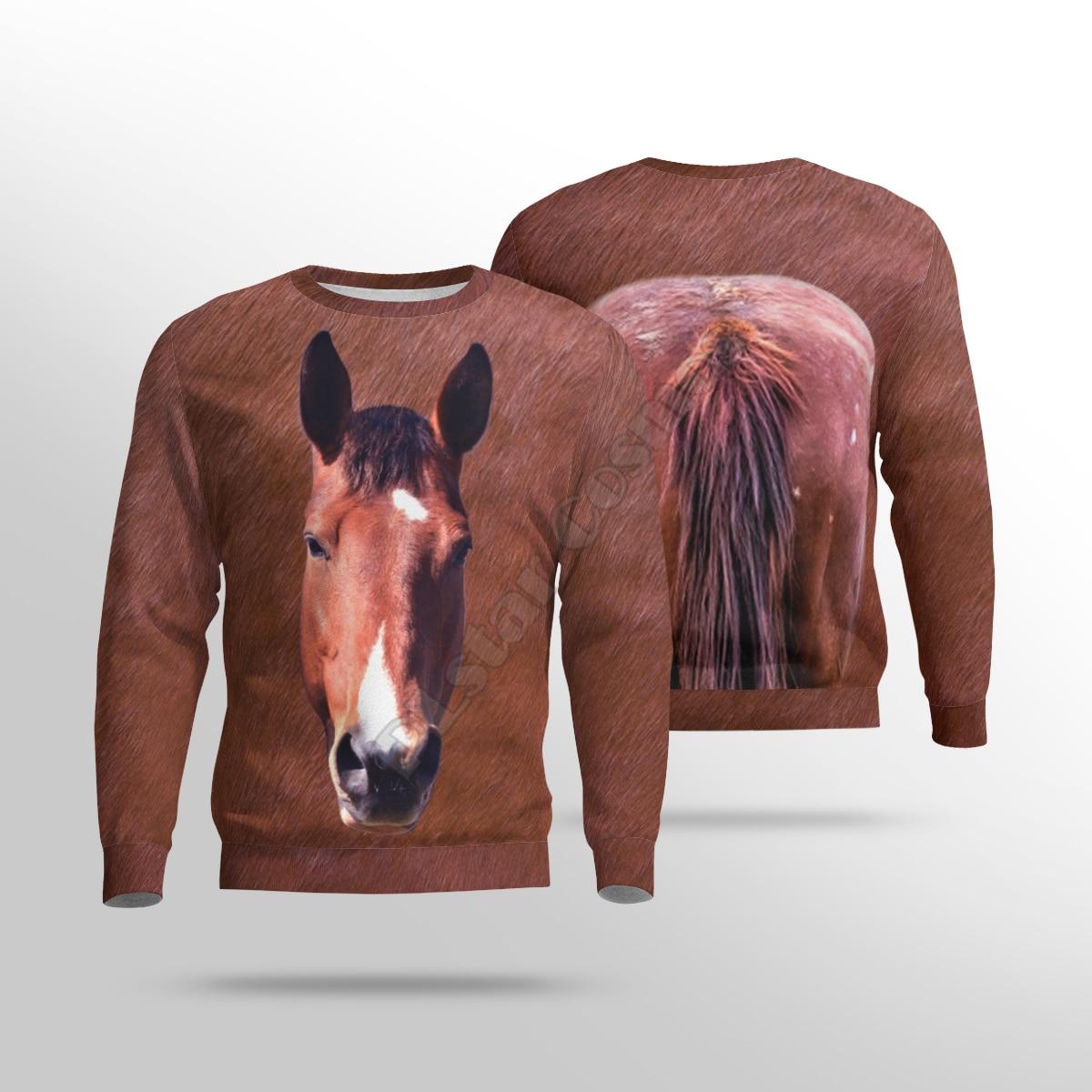 Funny Horse 3d Printed Women For Men Sweater Sweatshirt Autumn Fashion Streetwear Pullover Long Sleeved Shirt 06