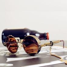 Classic gothic steampunk sunglasses high quality men and women retro round metal frame sunglasses lu