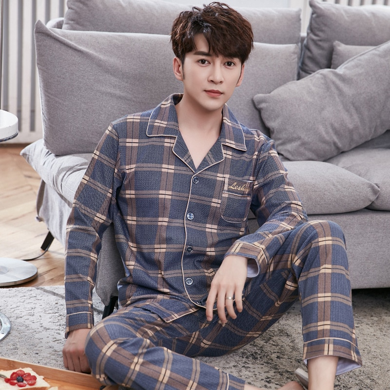 spring and autumn cotton long sleeve cardigan casual Plaid home wear men's autumn and winter cotton large size suit pajama women s long sleeve autumn and winter pure cotton women s large fat mm spring and autumn cotton home clothes pajama set