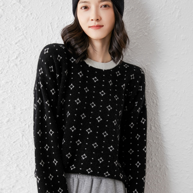 2021 woman winter 100% Cashmere sweaters knitted Pullovers jumper Warm Female O-neck blouse long sleeve clothing enlarge