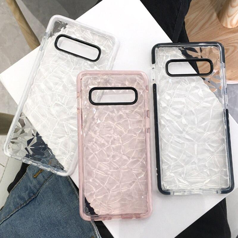 Doble capa Anti-choque de silicona funda para Samsung Galaxy S7 Edge S8 S9 S10 Plus A10 A20 A70 doble Color 3D diamante suave TPU cubierta