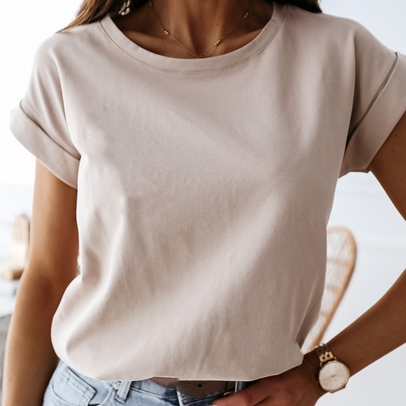 100% Cats T-shirt Women Summer New Oversized Solid Basic Teas 9 Color Casual Loss Shirt Korean O Neck Kaki tops