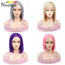 613/púrpura/gris/rosa peluca Bob corto de pelo humano pelucas de encaje Frontal peluca Frontal recta pelucas Lacefront Nicelight pelucas de pelo brasileño