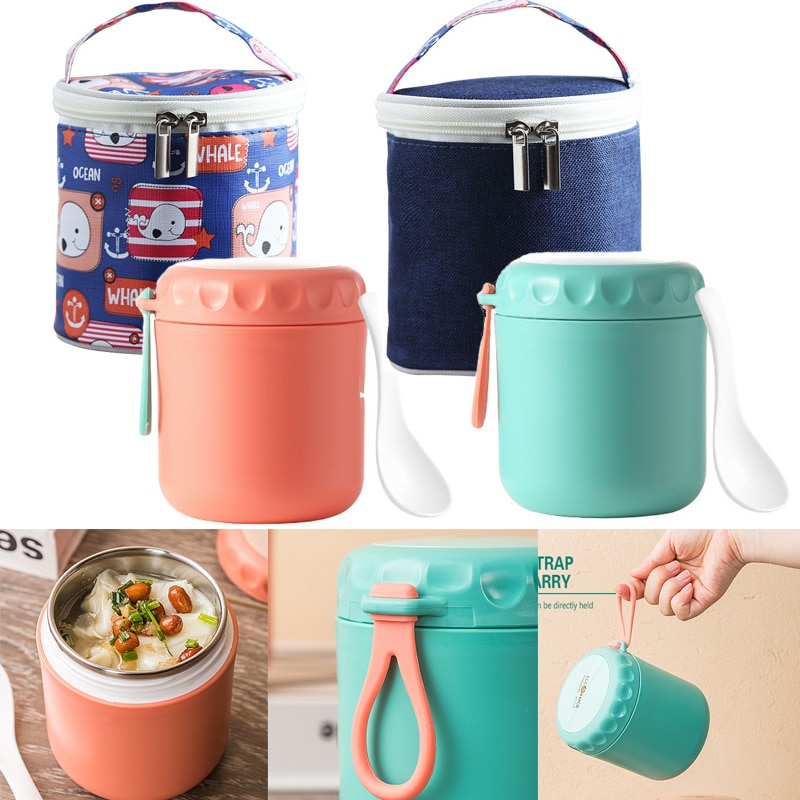 Stainless Steel Bento Box Kawaii Lunch Box For Kids Women Lunch Container Cute Japanese Style Lunch bag Soup Cup Food Container