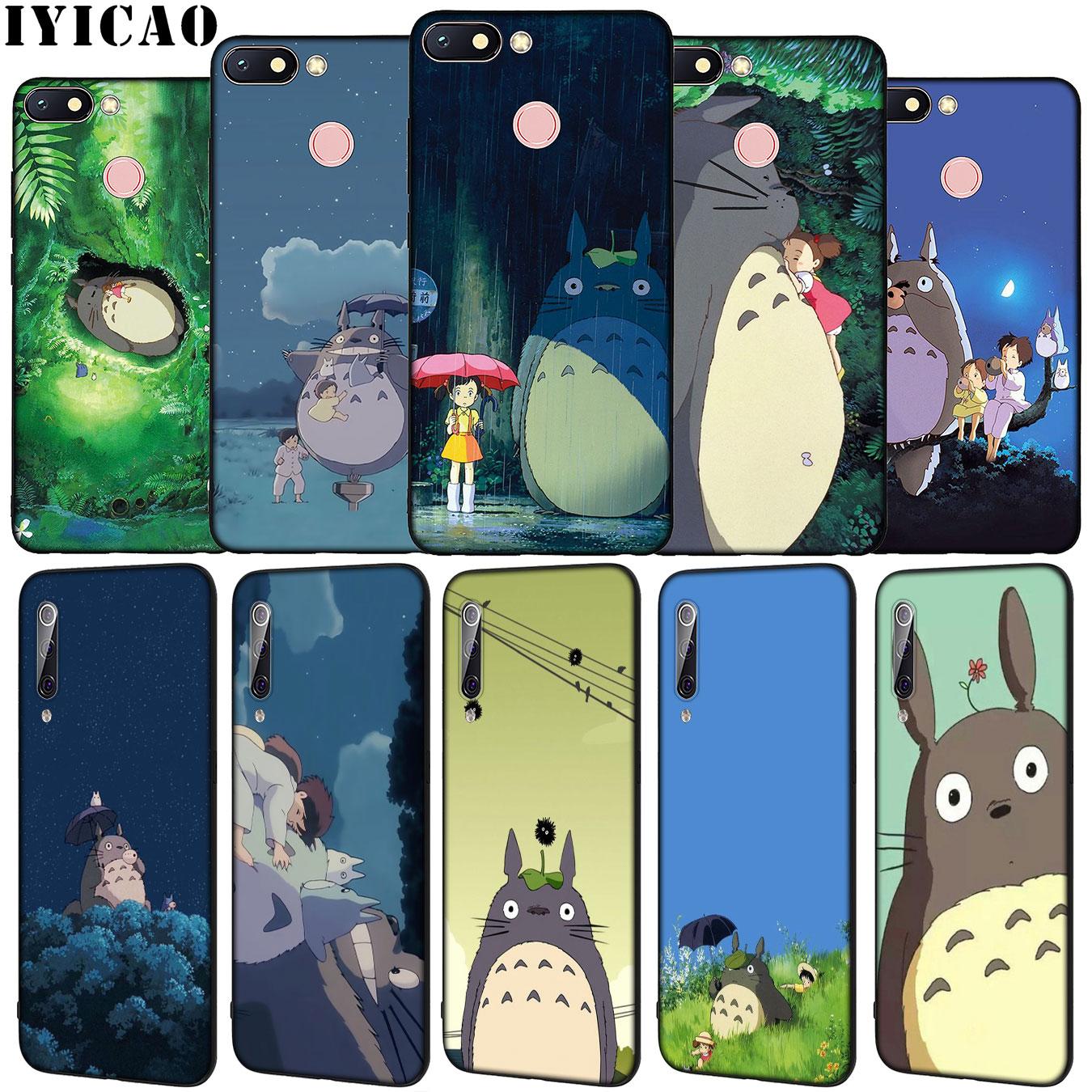 IYICAO mi vecino Totoro de silicona suave funda de teléfono para Xiaomi Redmi Note 8 8T 8A 7 7A 6 6A 5 5A ir S2 K30 K20 Pro cubierta negro