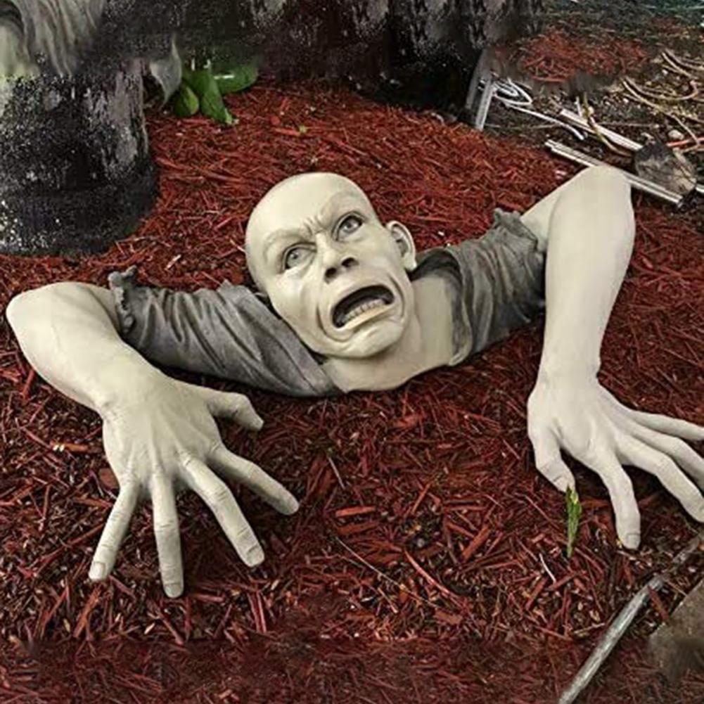 1pcs Zombie Shape Funny Statue Garden Sculpture Non-fading Anti-deform Decorating Halloween Decorative Sculpture